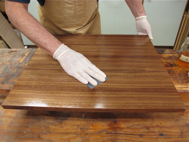 2_Sanding second wet coat with 600-grit sandpaper